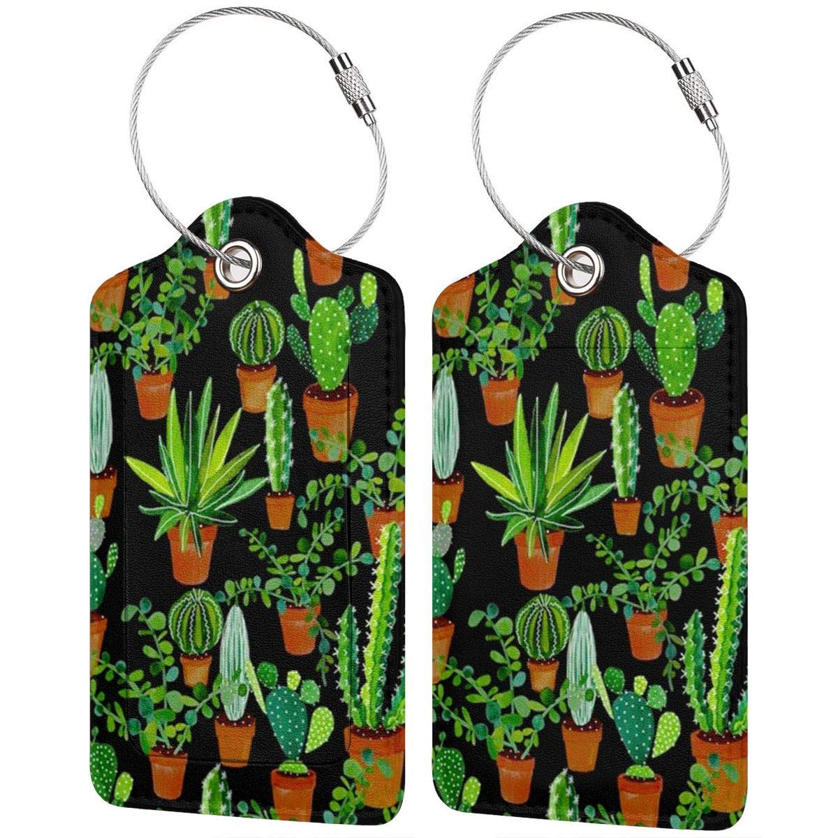 Cactus Flower Luggage Tags With Full Back Privacy Cover W//Steel Loops
