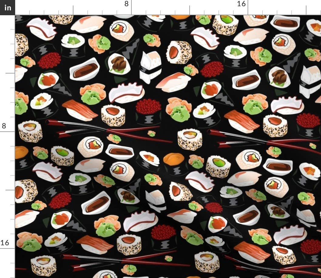 Spoonflower Fabric - Black Sushi Japanese Food Japan Printed on Petal Signature Cotton Fabric by The Yard - Sewing Quilting Apparel Crafts Decor