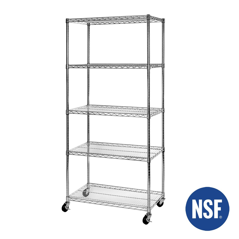 Amazon.com: Seville Classics UltraDurable 5-Tier NSF Steel Wire ...