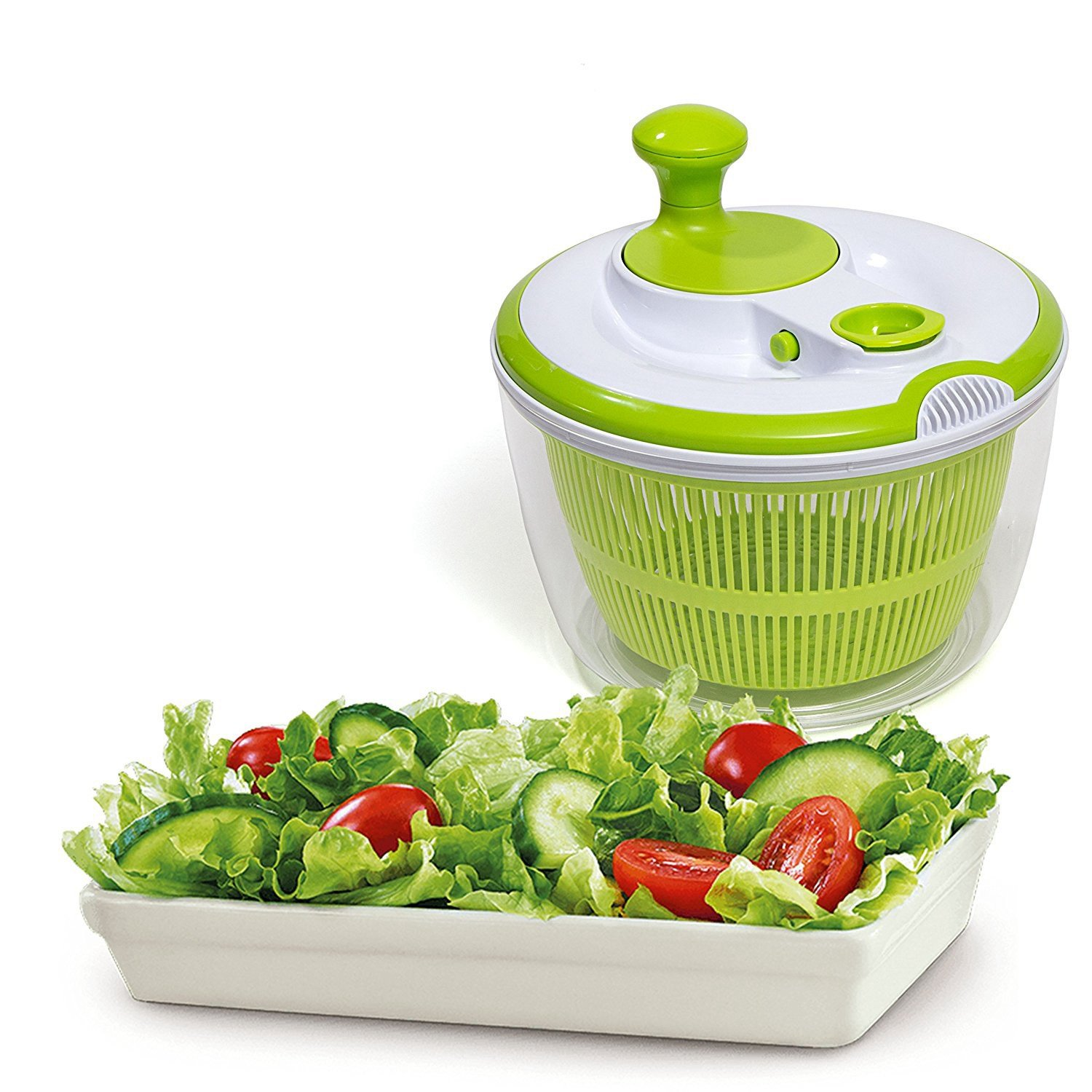 Haolide Multifunctional Durable BPA Free Food Safe Material Salad Spinner,360-Degree Rotating Household High-Speed Centrifuge Vegetables Quick Filter Baskets Lettuce Dryer
