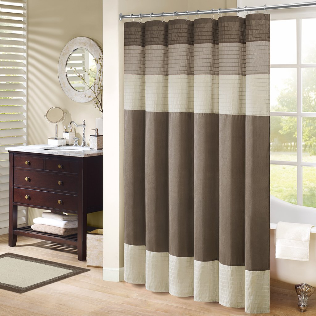 Amazon Madison Park Amherst Fabric Brown Shower Curtain Pieced Transitional Simple Curtains For Bathroom 72 X Natural Home Kitchen