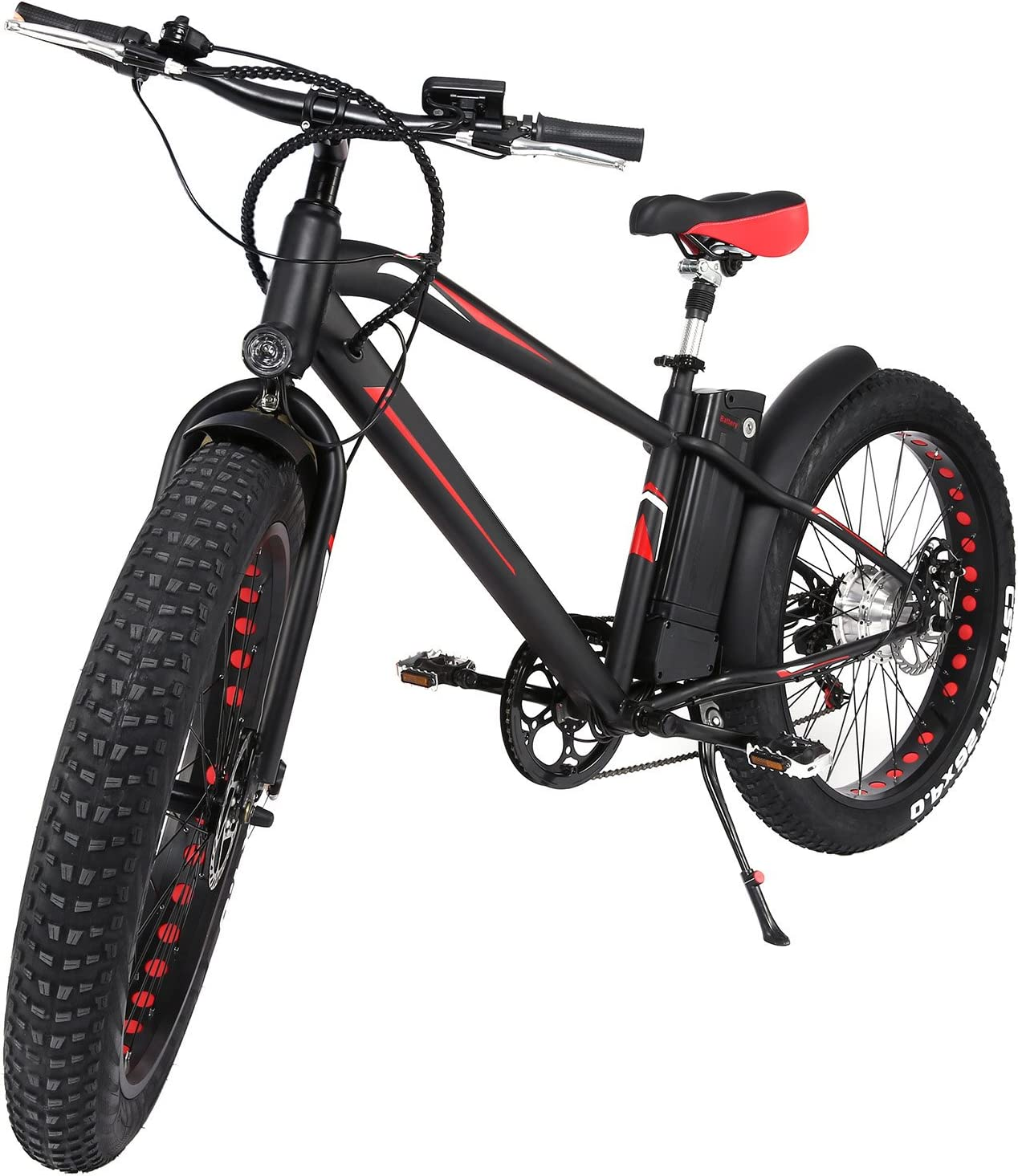 Profun Bicicleta Eléctrica Bicicleta de Montaña 300W 36V 10AH Motor Shimano de 6 Velocidad Doble Suspensión Neumático 26X4.0 Batería Recargable de Litio Desmontable Pantalla LCD Completa para Adultos (Blanco): Amazon.es: Deportes y