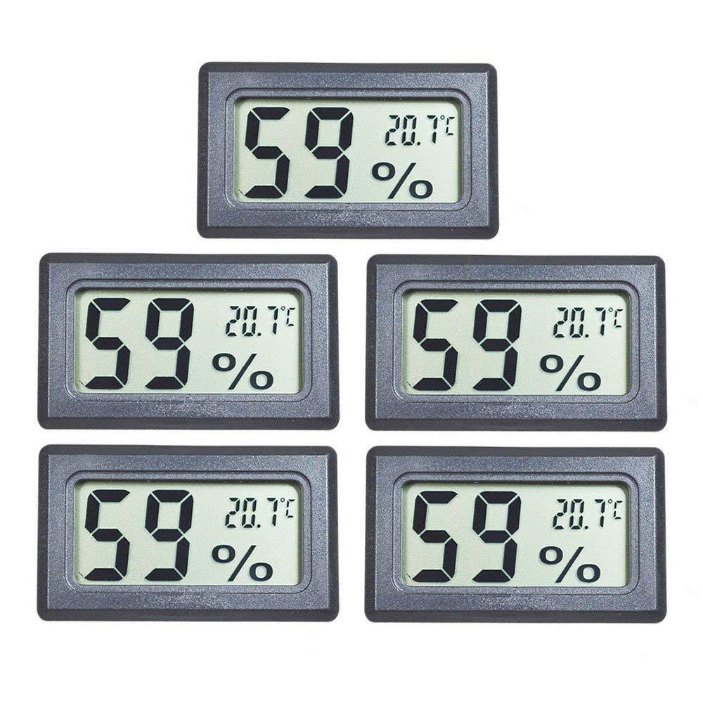 EEEKit 5-Pack Mini LCD Digital Electronic Temperature Humidity Meter Indoor Thermometer Hygrometer (Black) (5-Pack) by EEEKit