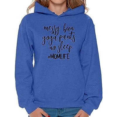 Awkward Styles Womens Messy Bun Yoga Pants No Sleep Its a Momlife Graphic Sweatshirt Tops Black