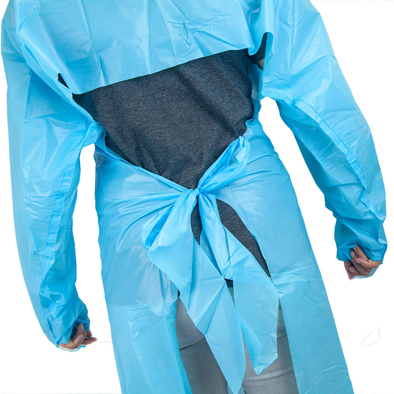 SAFE HANDLER Disposable Sleeve Gown | Open Back with Thumb Loops, 0.5 MIL, Blue, 100 Count by Safe Handler (Image #5)
