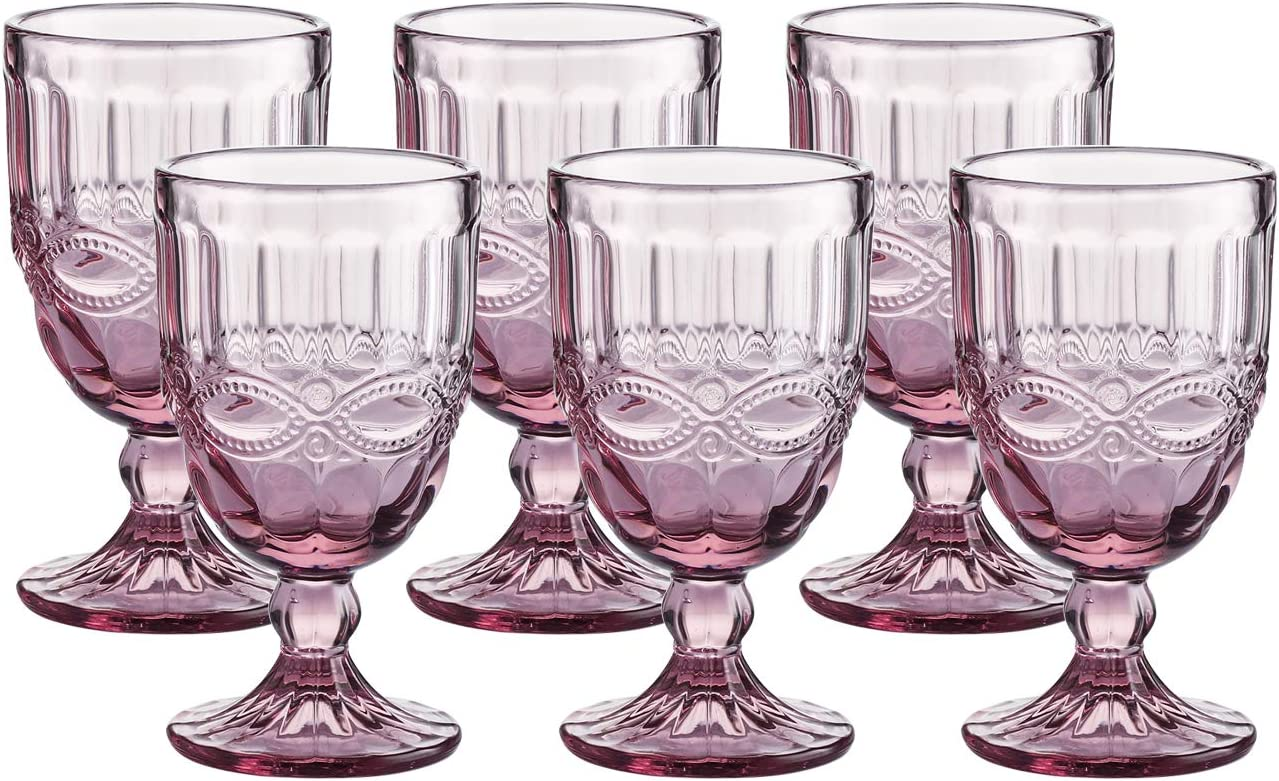 Red Pressed Pattern Wine Glass Wedding Goblet 8.5 Ounce Colored Glass Goblet Vintage