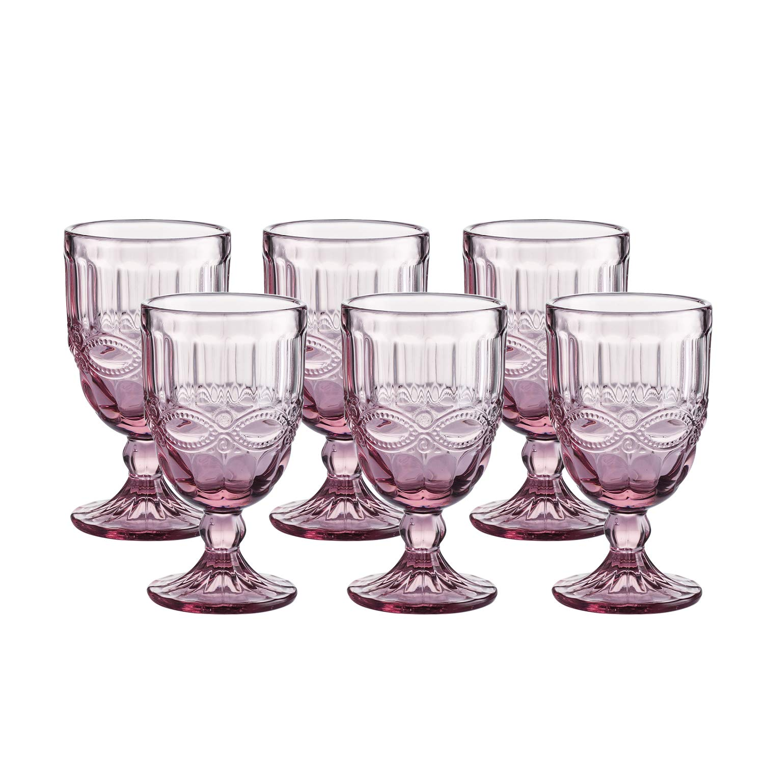 Colored Glass Goblet Vintage - Pressed Pattern Wine Glass Wedding Goblet - 8.5 Ounce (Pink) by WH Housewares (Image #1)
