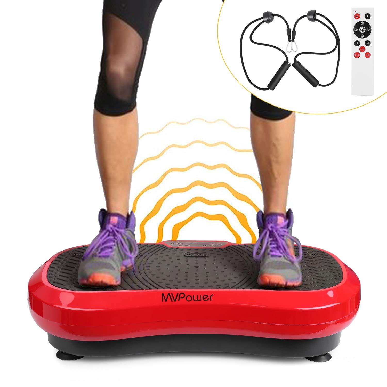 MVPower Home Vibrationsplatte, Profi Vibrationsgerät inklusiveTrainingsbändern, Trainingsgerät mit großer Rutschsicheren Trainingsfläche