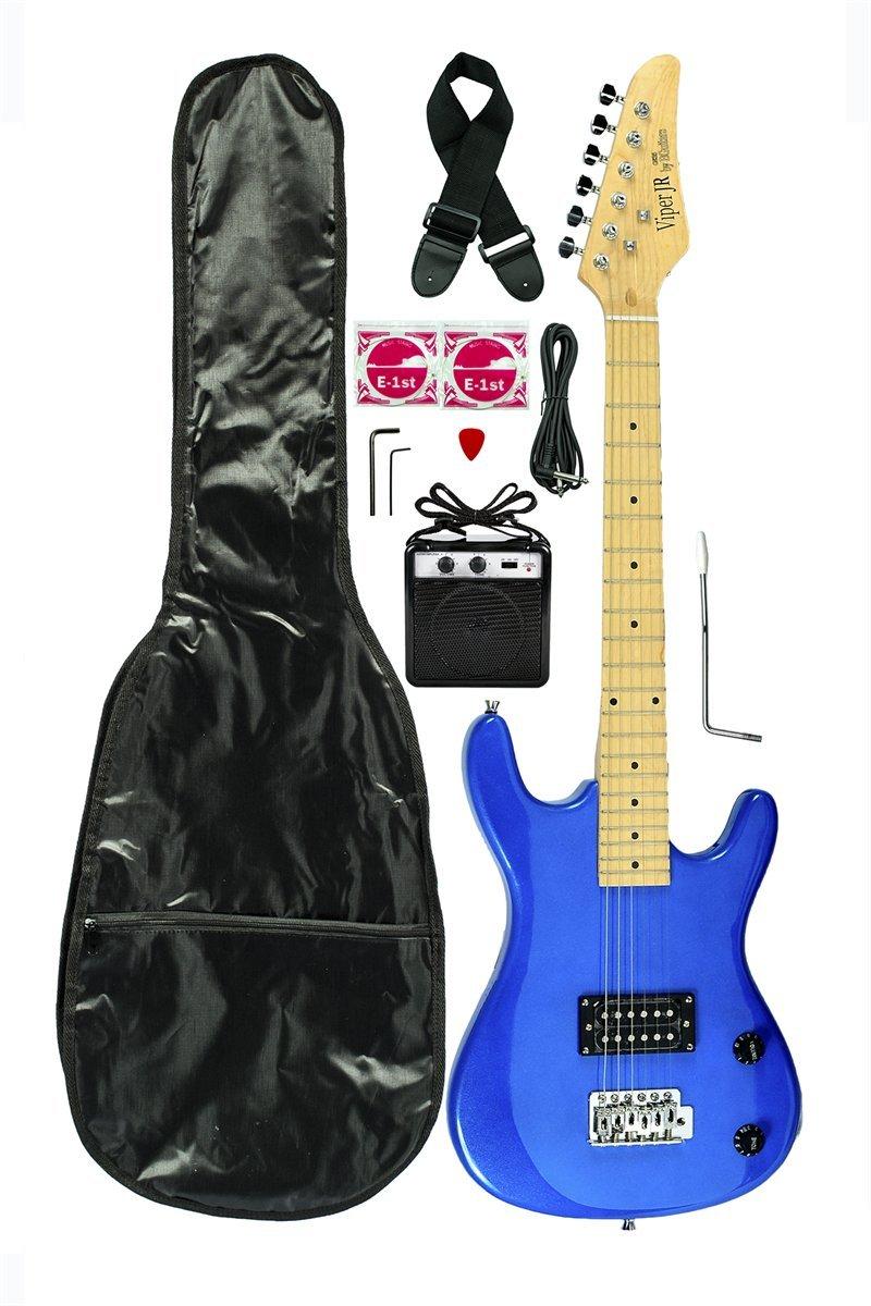 Metallic Blue Junior Kids Mini 3/4 Electric Guitar Amp Starter Pack, Guitar, Temolo, Amplifier, Gig Bag, Strap, Cable, & DirectlyCheap(TM) Translucent Blue Medium Guitar Pick