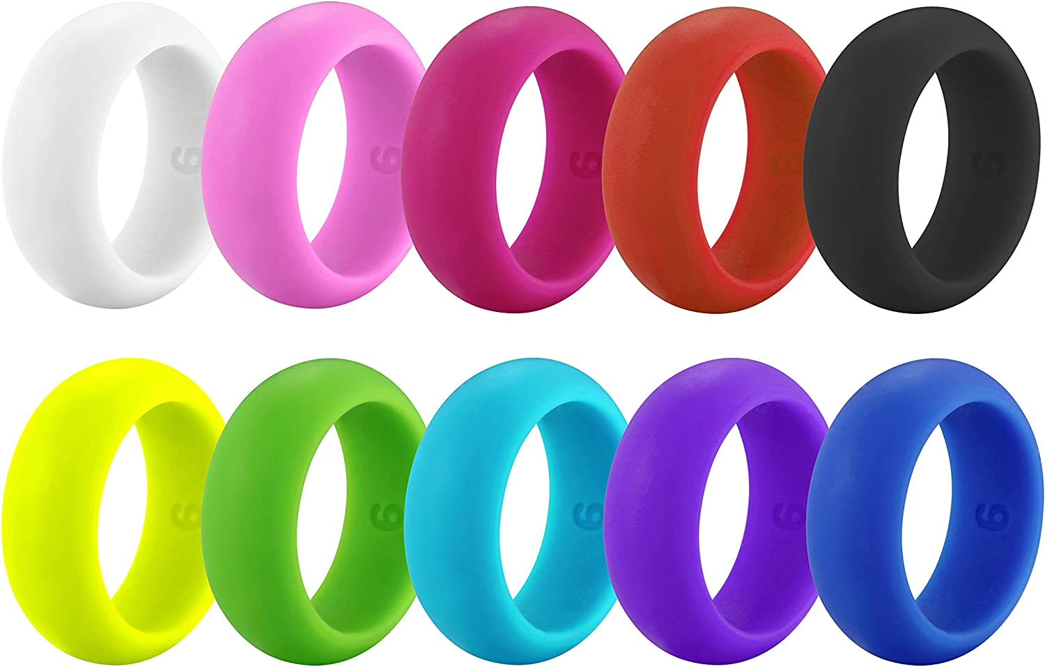 Rinspyre 10 Pack Silicone Wedding Ring for Men Rubber Bands, Black White Blue Silver Gray