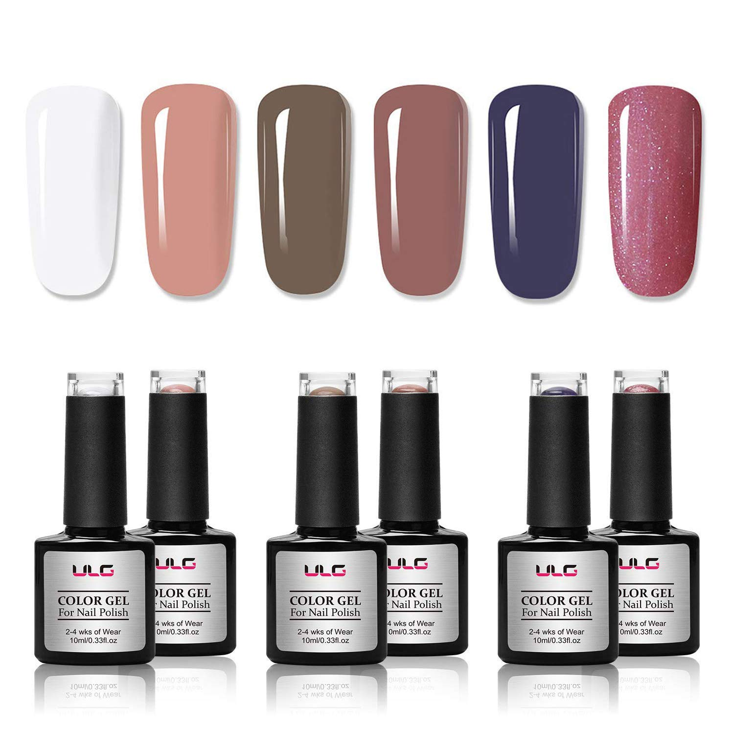 Amazon.com: Gel Nail Polish Set 6 Natural Colors 10ml ULG Soak Off ...