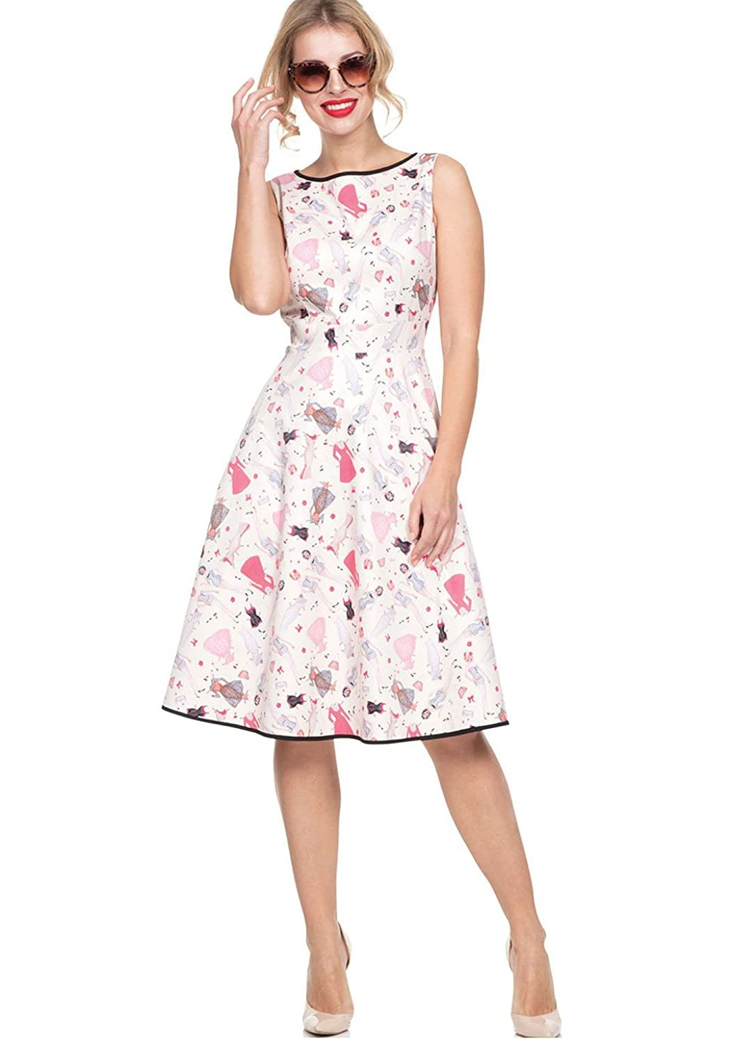 Voodoo Vixen Jacqueline Women's 1950's Inspired Retro Paper Doll Pink Dress Printed Sleeveless ALine Flared Dress