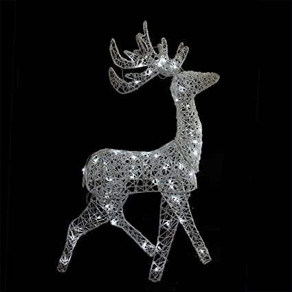 brite star 52 led lighted elegant white glittered reindeer christmas yard art decoration