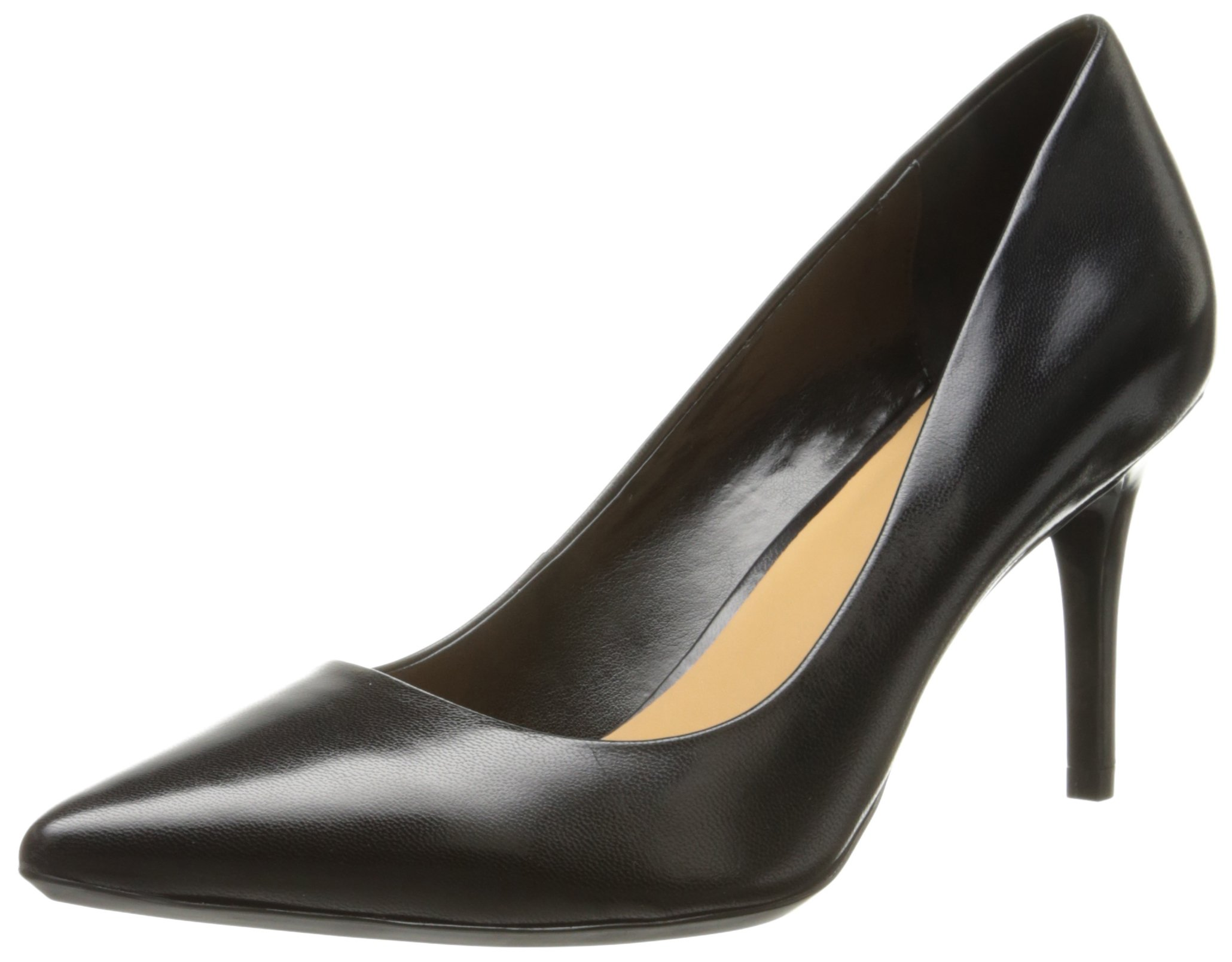 Calvin Klein Women's Gayle Pump, Black Leather - 8 B(M) US