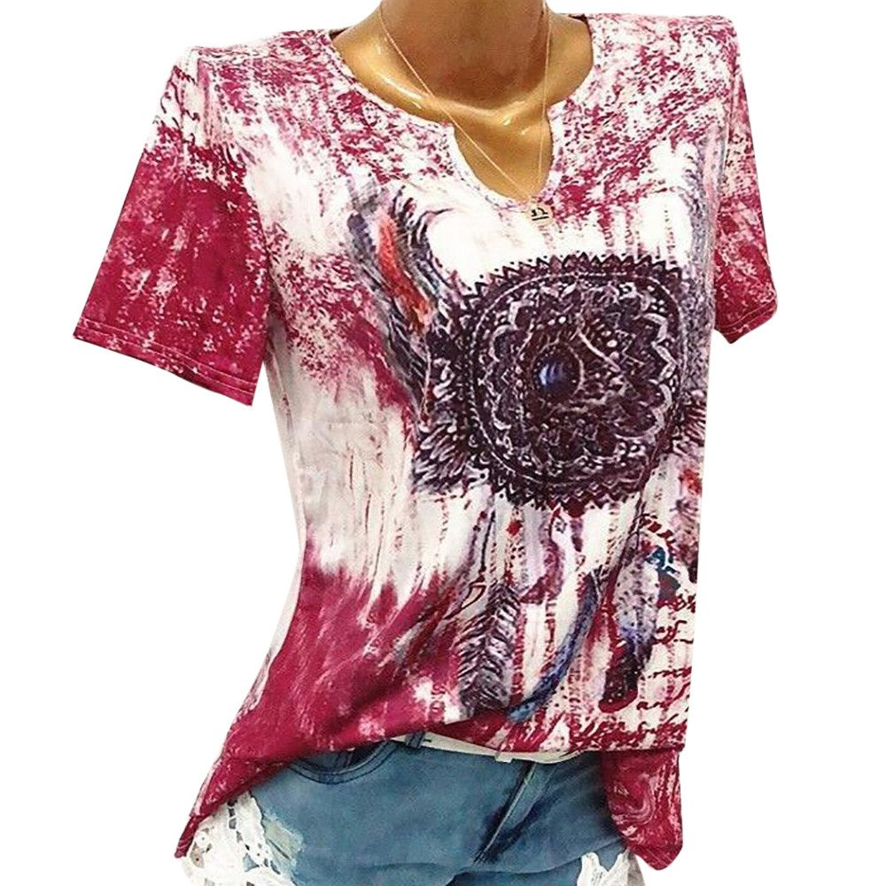 TnaIolral Women Blouse Windbell Print V-Neck Short Sleeve Pullover Tops Shirt Red
