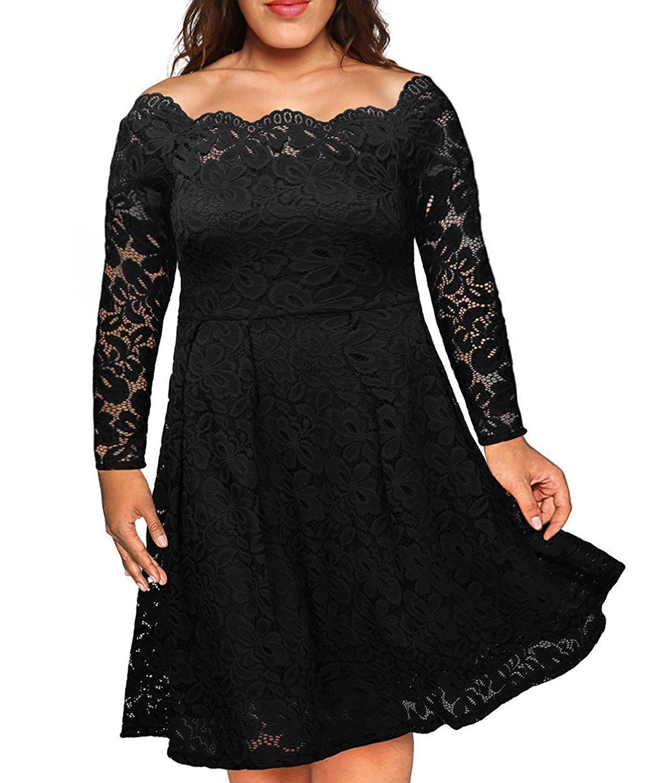 Nemidor Women's Vintage Floral Lace Sleeved Plus Size Cocktail Formal Swing Dress (Black, 20W)
