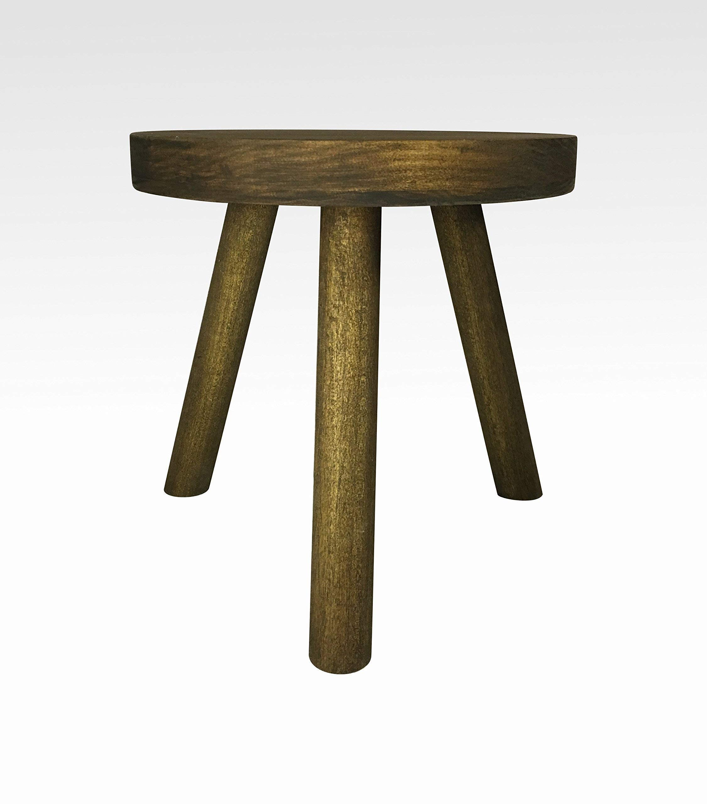 Modern Plant Stand Three Leg Stool by CW Furniture in Walnut Indoor Wood Flower Pot Base Display Holder Solid Wooden Kids Chair Table Simple Minimalist Small by Candlewood Furniture
