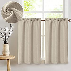 JINCHAN Kitchen Curtains Linen Textured Tier Curtains Rod Pocket Flax Linen Look Tiers Kitchen Cafe Curtains Window Treatments for Living Room 2 Panels 36
