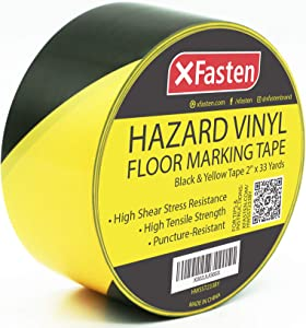 XFasten Hazard Warning Safety Striped Tape, Black and Yellow, Waterproof, 2-Inch x 36-Yards, High Visibility Warehouse Caution Stripe Adhesive Rolls Barricade Tape for Walls, Stairs, Aisles, Floors