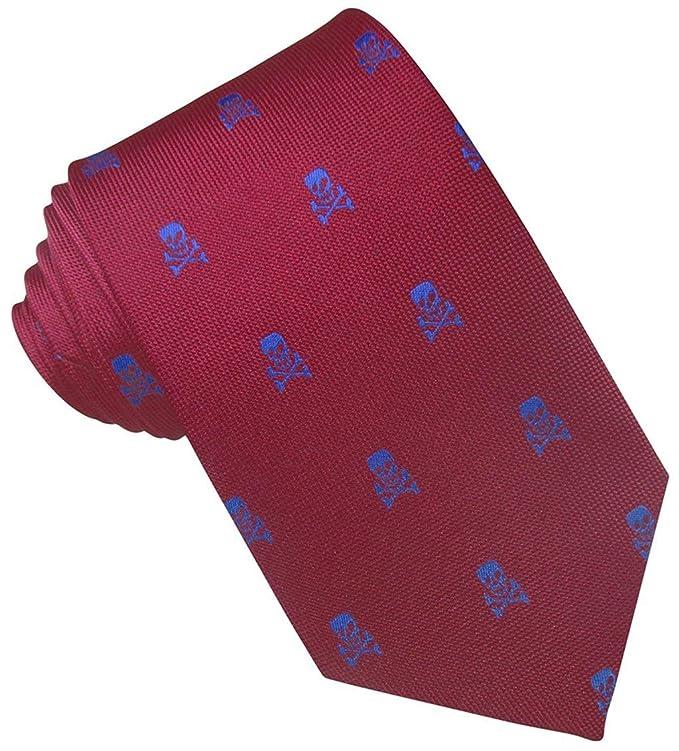 JOSVIL Corbata Seda Roja Calaveras Azules: Amazon.es: Ropa y ...