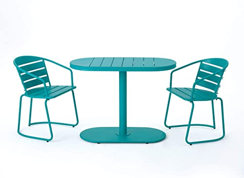 Santa Monica Outdoor Matte Teal Finished Iron Bistro Set