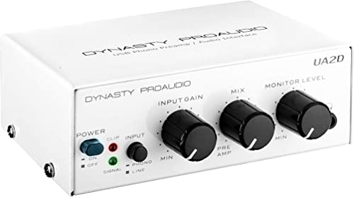 Dynasty ProAudio DA-UA2D USB Phono Preamplifier Audio Interface with RIAA Equalized Low Noise Moving Magnet A D Converter