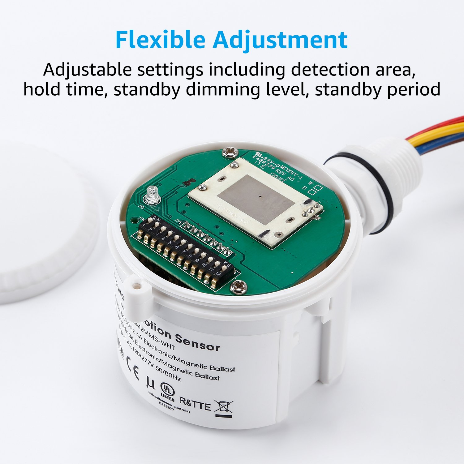 Adjustable Features LEONLITE Microwave Motion Sensor Attachment for High Bay Fixture 360/° Detection UL-Listed Commercial Grade Sensor