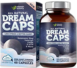 Vitamin Bounty Natural Sleep Aid - with 7 Scientifically Proven Ingredients Including Melatonin, Chamomile, Lemon Balm & Valerian, 60 Count