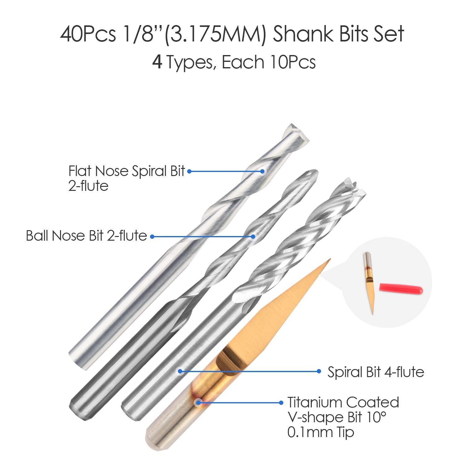 HQMaster End Mill Combination Kit Set CNC Router Bits Cutter Cutting Milling Tool (4 Type, Each 10Pcs) Including Flat Nose/Ball Nose End Mill, 4 Flutes End Mill and 10° V-shape Engraving Bits by HQMaster (Image #2)