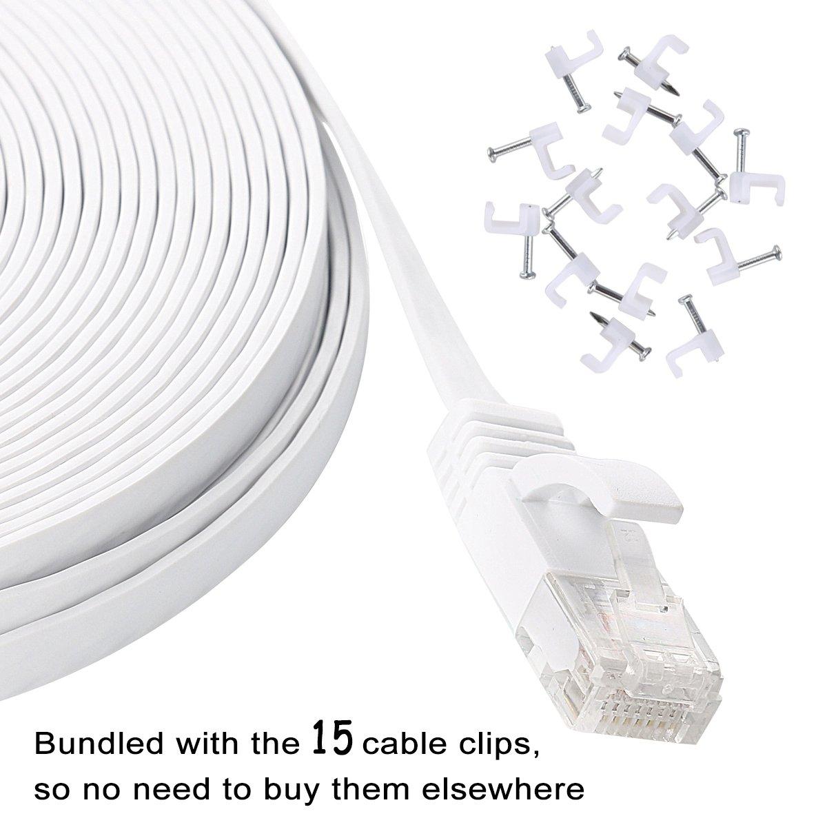 Amazon.com: Cat 6 Ethernet Cable 50 ft White – Flat Internet Network ...