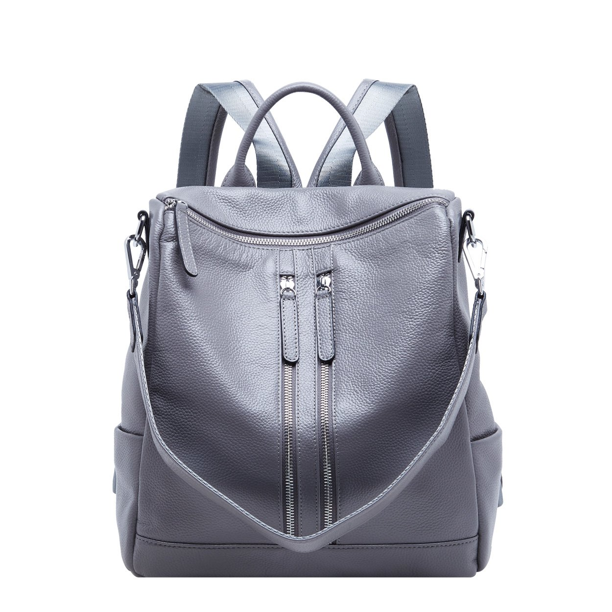 BOYATU Convertible Genuine Leather Backpack Purse for Women Fashion Travel Bag (Grey-03)