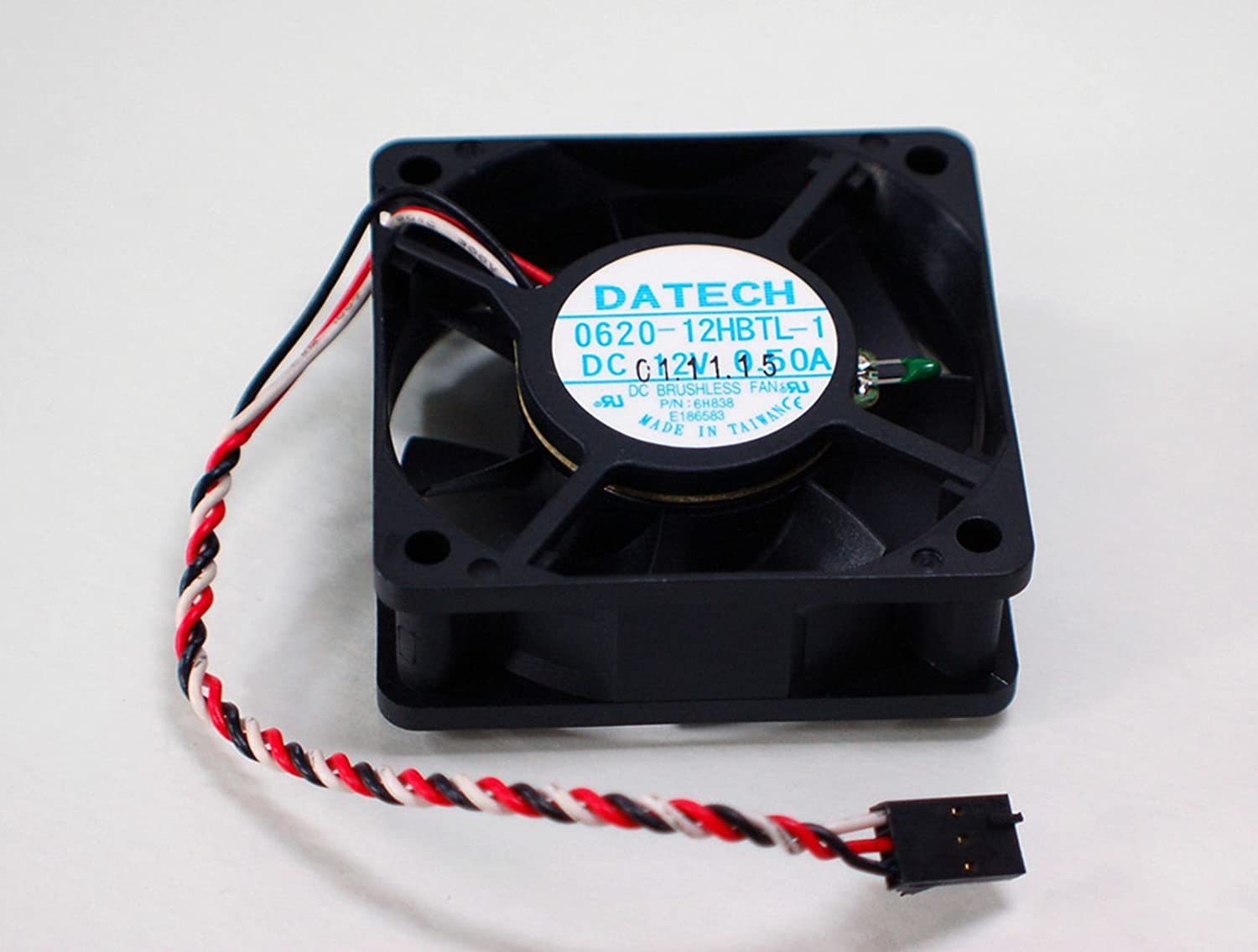 Aquamoon Trading 6H838 Genuine OEM Dell Optiplex GX50 GX150 Brushless 0620-12HBTL-1 0.50A CPU Cooling Fan 12V 60mm 2408NL-04W-B46 Black w/3-Pin Red/Black/White Cable Assembly