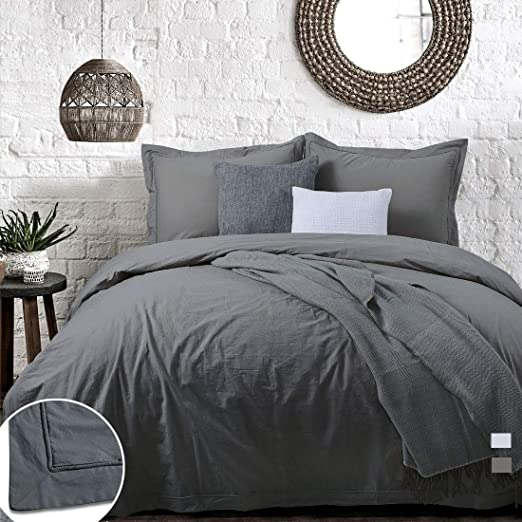Amazon Com Charcoal Duvet Cover Dark Grey Washed Cotton King Gray Farmhouse Hotel Modern Men 3pc Percale Quilt Cover Hemstitch 104x90 Flange Border Rustic Piping Edge Teens Plain Solid Bedding Set Kitchen
