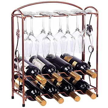 Amazoncom Tabletop Wine Bottle Rack Holder Countertop Wine Glass
