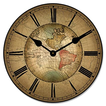 Amazon Com 17th Century World Map Wall Clock Available In 8 Sizes