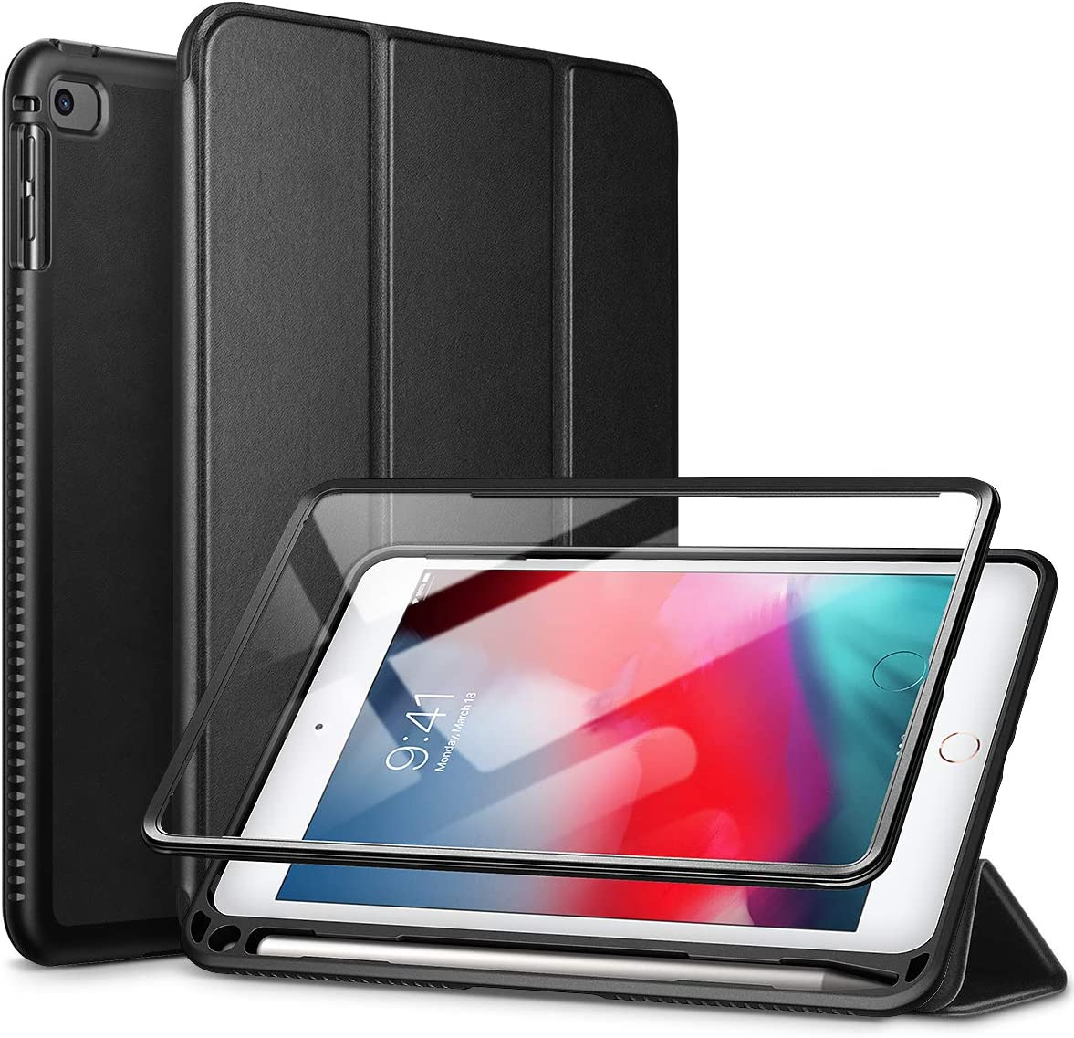"SURITCH Case for iPad Mini 4/iPad Mini 5,【Built in Screen Protector】【Auto Sleep/Wake】【Pencil Holder】 Lightweight Leather Case Flip Cover with Stand for iPad Mini 4/Mini 5 7.9""(Black)"