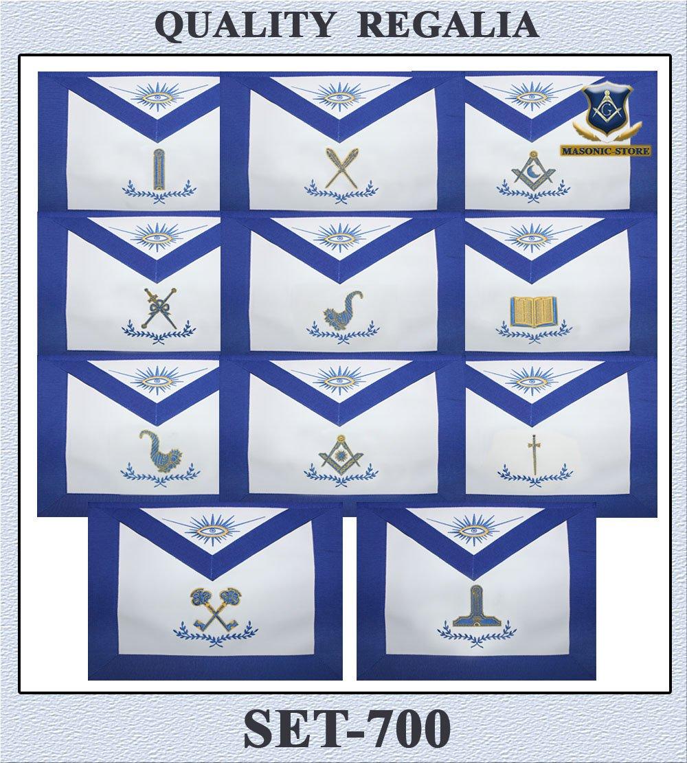 Masonic OfficerブルーLodgeエプロン – セットof 11エプロンHand Made   B00MFQLJLQ