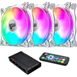 Vetroo CF8 3IN1 120mm Case Fans, Motherboard Aura Sync RGB LED Fan, Adjustable Color Quiet High Airflow PC Cooling Fan…