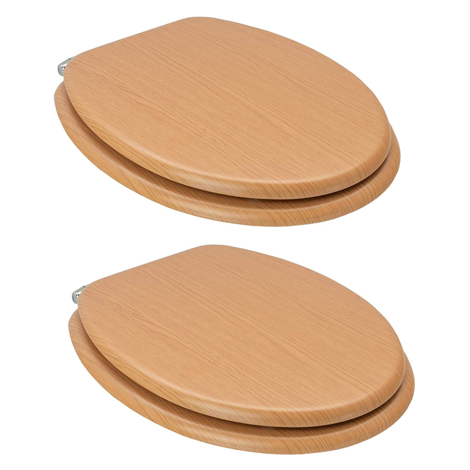Wooden with Chrome Hinges Grooved White Harbour Housewares Soft Close Toilet Seat Pack of 2