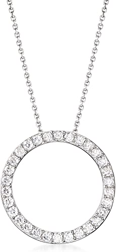 925 Sterling Silver Round CZ Open-back Charm Pendant