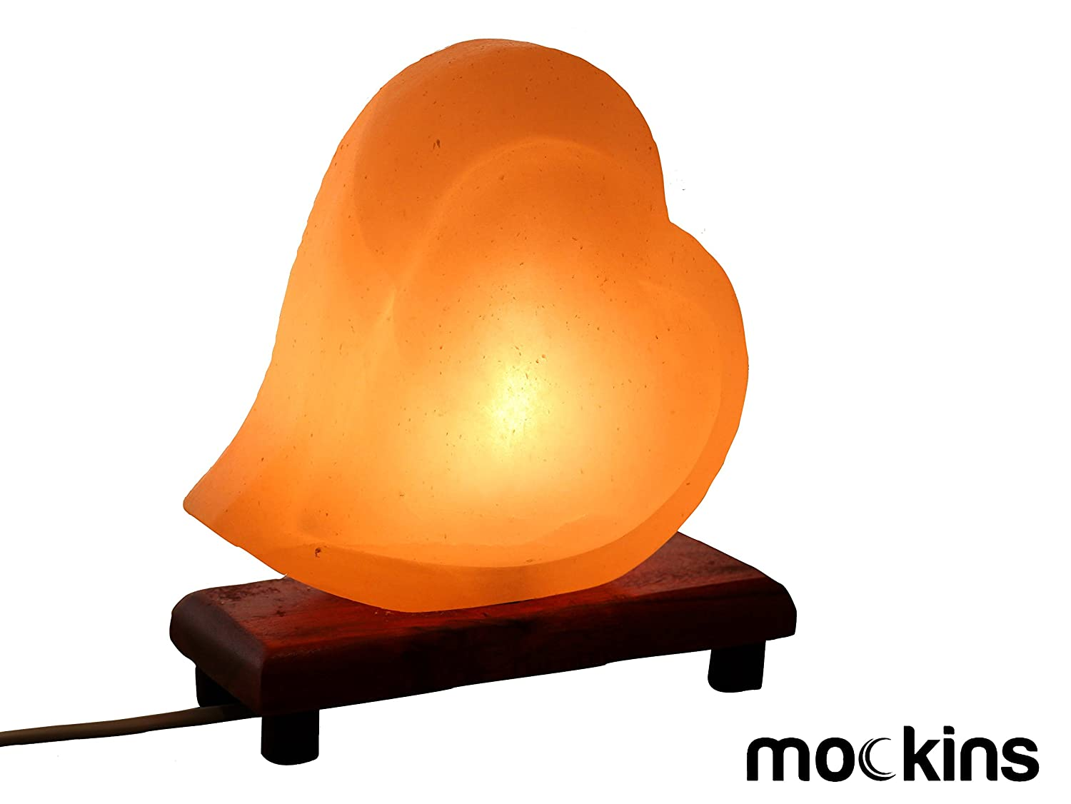 Mockins Natural Himalayan Salt Double Heart Shaped Lamp The Salt Lamp is Hand Carved with a Wooden Base and Dimmer - Best