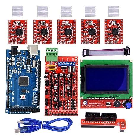 DirkFigge RAMPS 1.4 Mega2560 12864 Kit de Controlador LCD ...