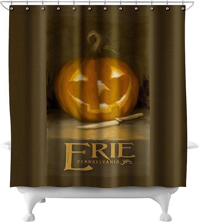 Amazon Com Erie Pennsylvania Jack O Lantern Halloween Oil Painting 71x74 Polyester Shower Curtain Home Kitchen