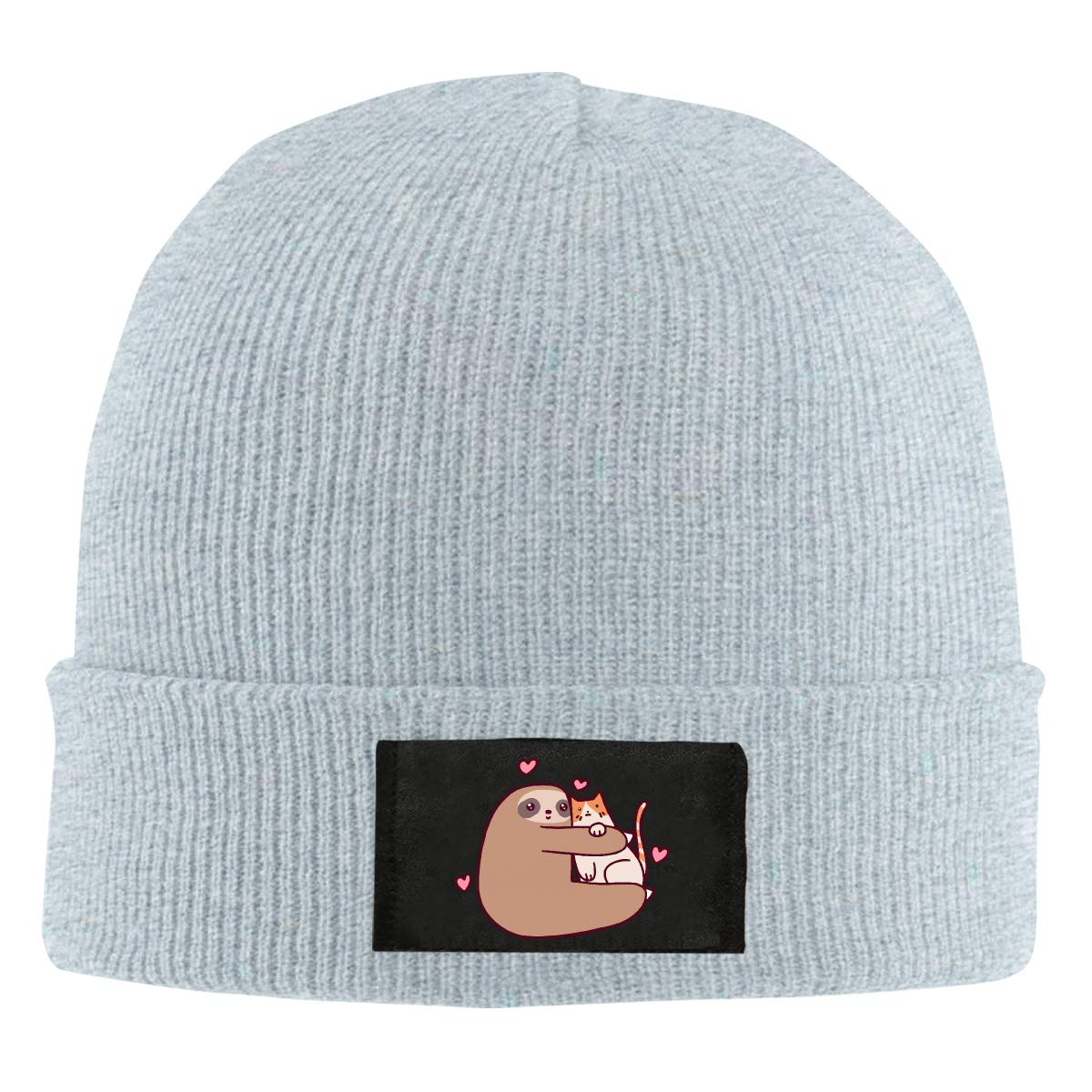 100/% Acrylic Thick Beanies Cap Unisex Sloth Loves Cat Knit Cap