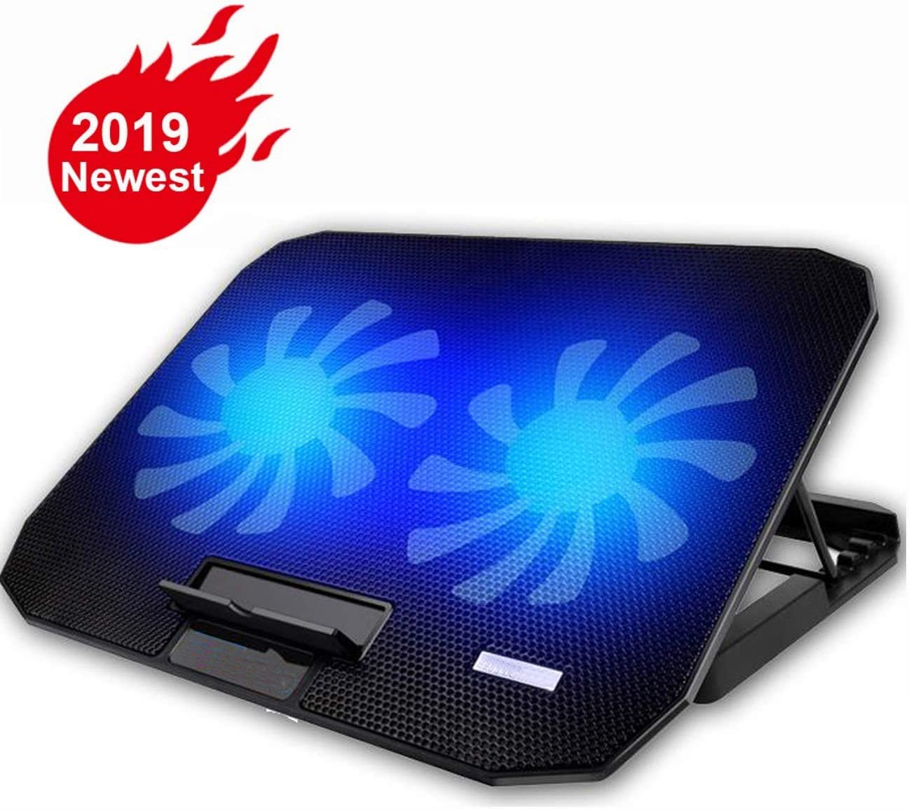 "KEROLFFU 10-15.6"" Office Laptop Cooling Pad (Big 2Fans Super Quiet, Double Sides Built-in USB Line, Back Feet Stand)"