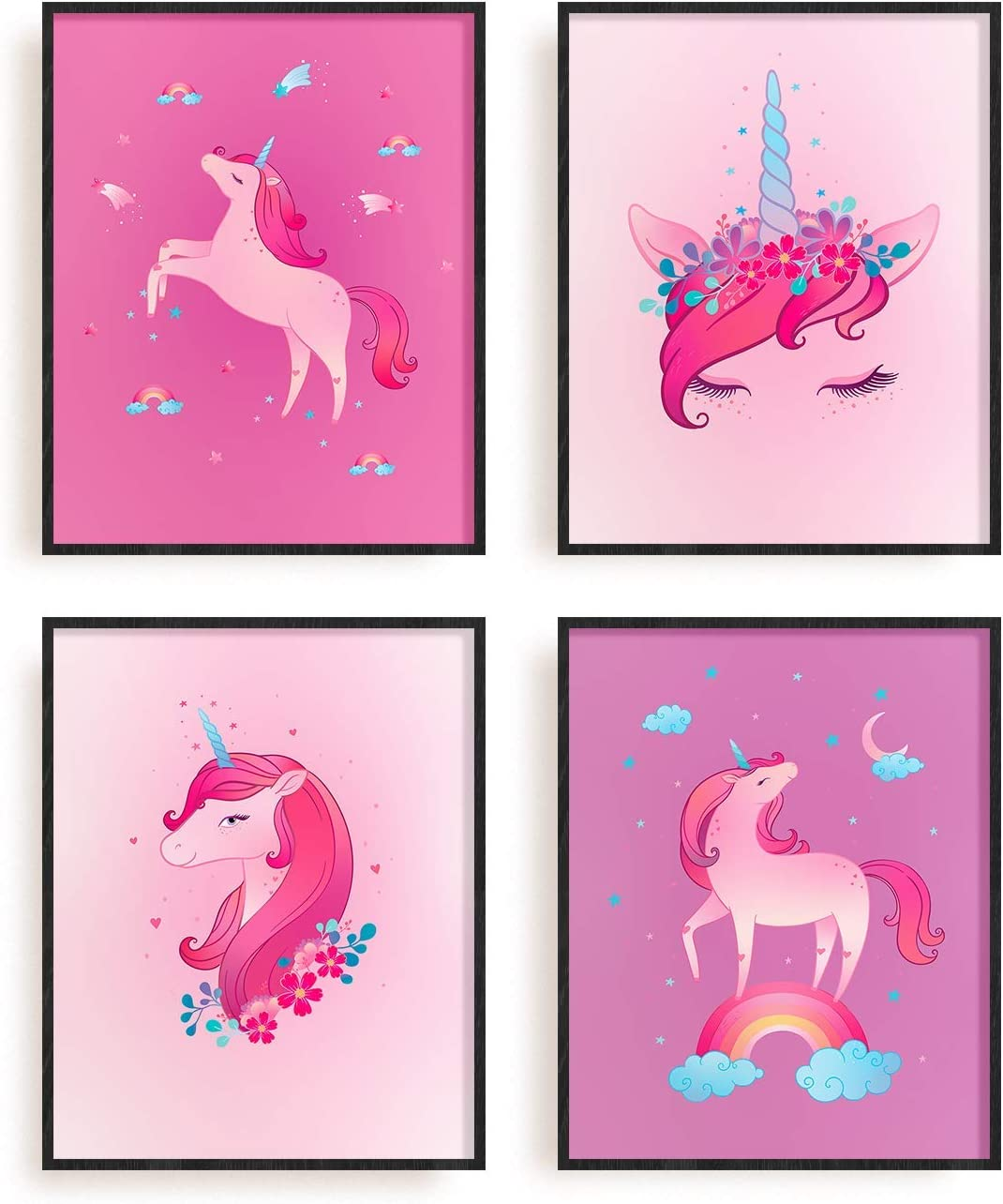 """Unicorn Posters Set of 4 By The Carefree Bee   Unicorn Bedroom Décor   Unicorn Room Decorations for Girls/Kids Bedroom   Nursery Decor for Girls   8"""" x 10""""   Unframed Poster Wall Decoration (Unicorns)"""
