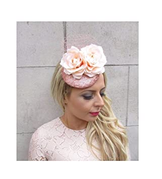 99abe0098b8ce Starcrossed Boutique Rose Gold Champagne Peach Sequin Flower Fascinator Hat  Hair Clip Pillbox 4281