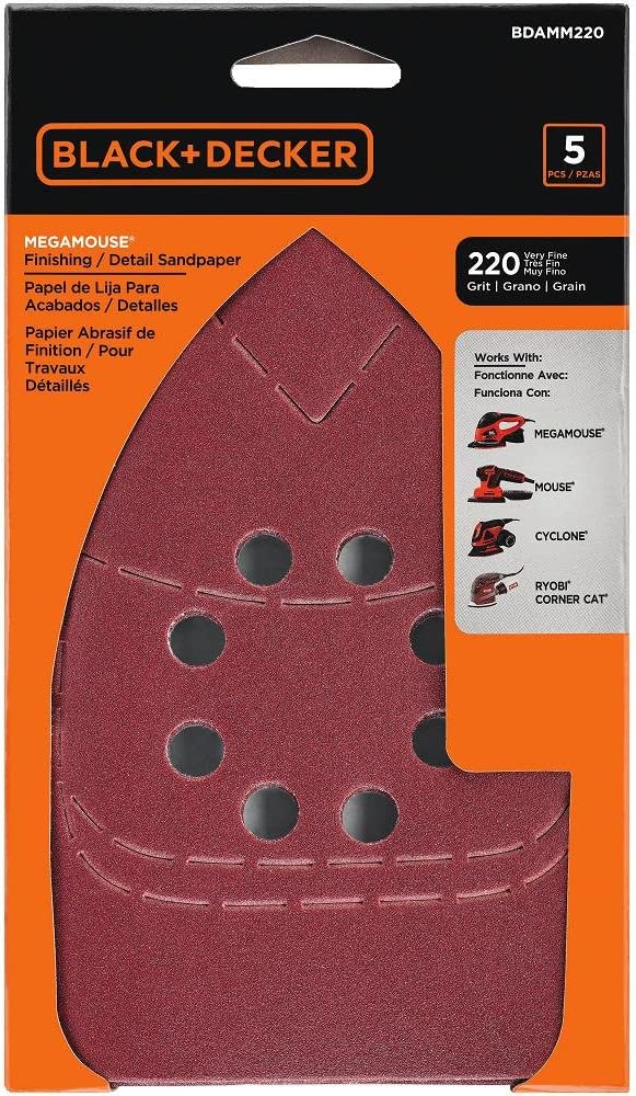 BLACK+DECKER BDAMM220 220G Mega Mouse Sandpaper, 5-Pack
