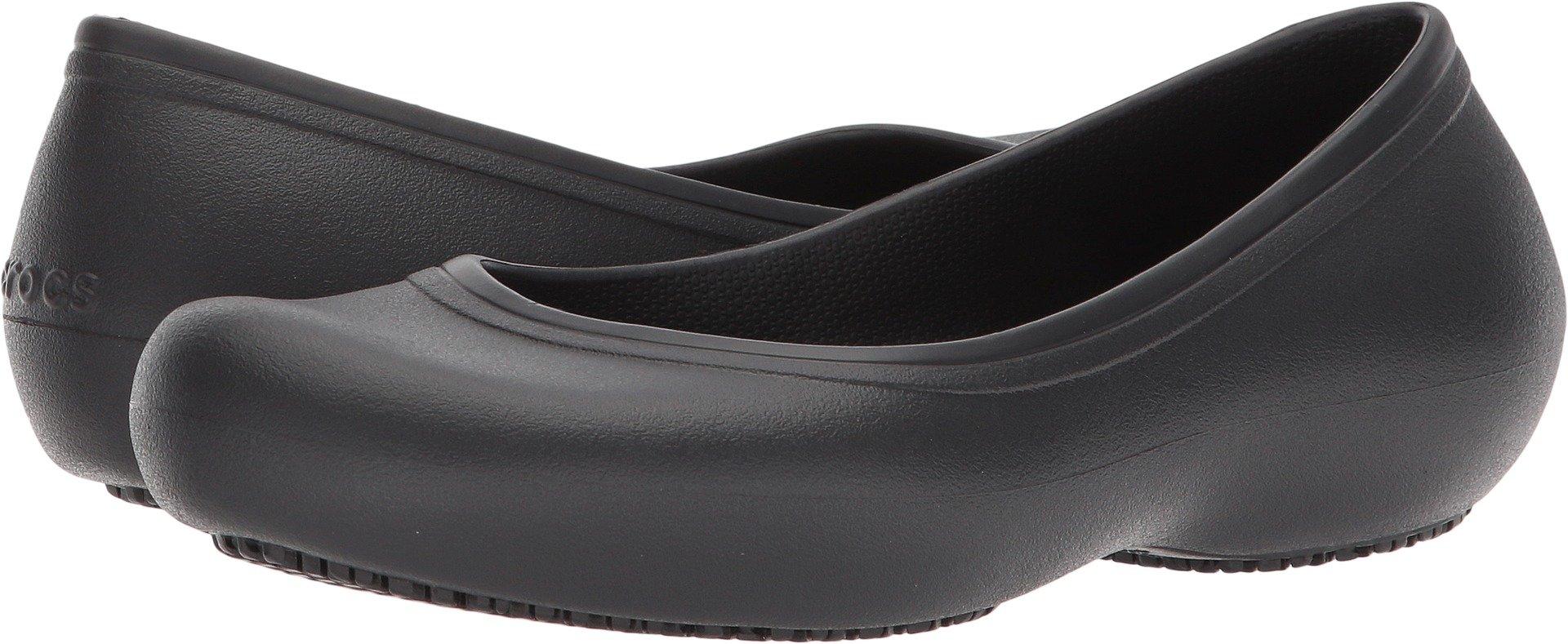Crocs Women's Work Flat Food Service Shoe, Black, 7 M US