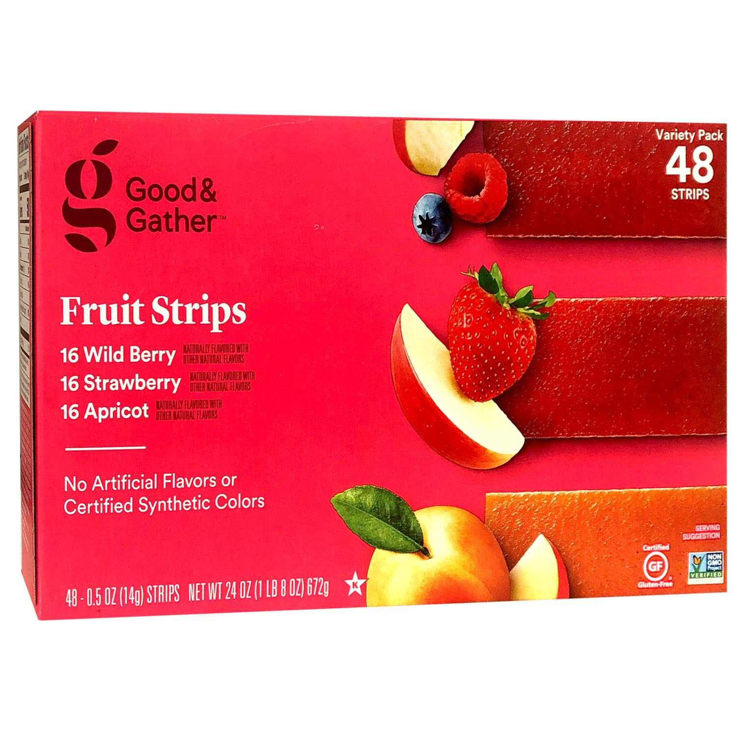 Fruit Strips Wild Berry Strawberry and Apricot Leathers Healthy Snack Made with Real Berry Puree Concentrate Good and Gather Variety Pack 48 Strips